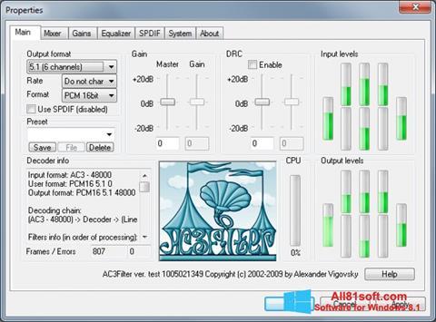 Képernyőkép AC3Filter Windows 8.1
