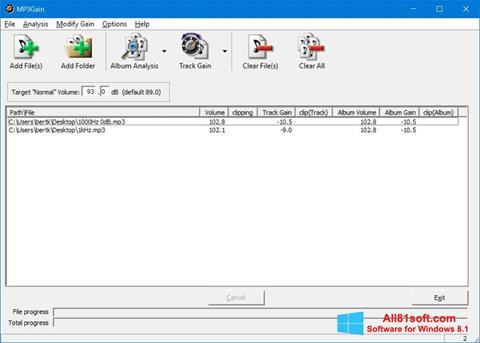 Képernyőkép MP3Gain Windows 8.1