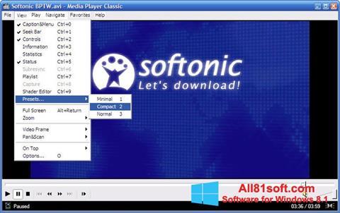 Képernyőkép Media Player Classic Windows 8.1