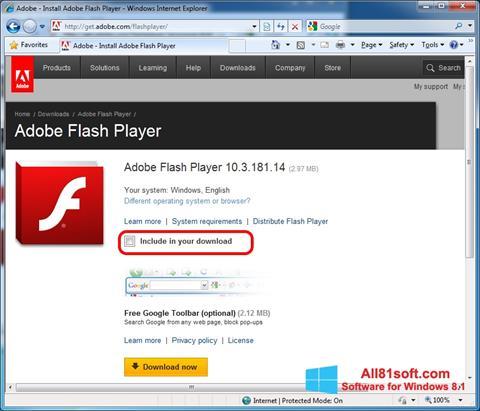 Képernyőkép Adobe Flash Player Windows 8.1