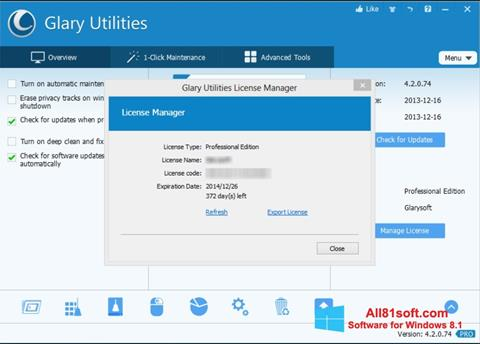 Képernyőkép Glary Utilities Windows 8.1