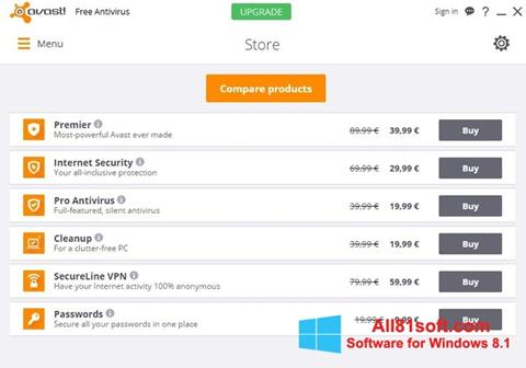 Képernyőkép Avast Free Antivirus Windows 8.1