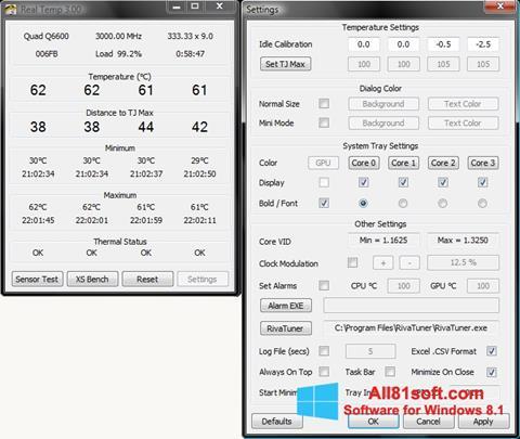 Képernyőkép Real Temp Windows 8.1