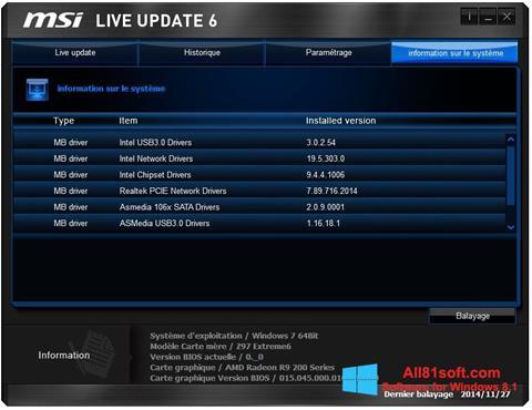 Képernyőkép MSI Live Update Windows 8.1