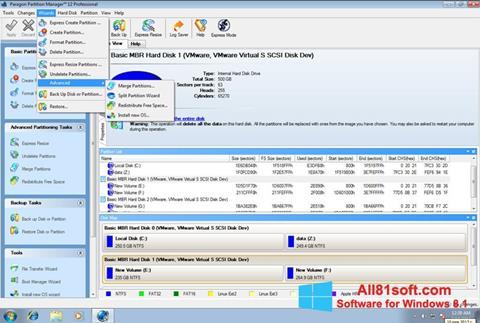 Képernyőkép Paragon Partition Manager Windows 8.1