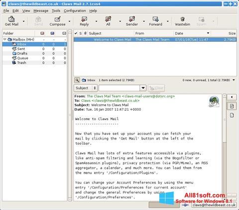 Képernyőkép Claws Mail Windows 8.1