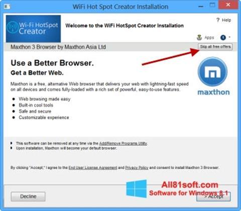 Képernyőkép Wi-Fi HotSpot Creator Windows 8.1