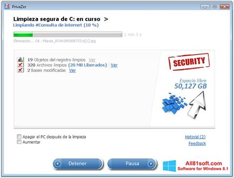 Képernyőkép PrivaZer Windows 8.1