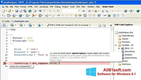 Képernyőkép phpDesigner Windows 8.1