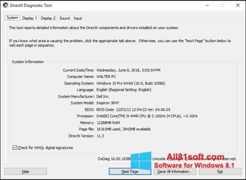 Képernyőkép DirectX Windows 8.1