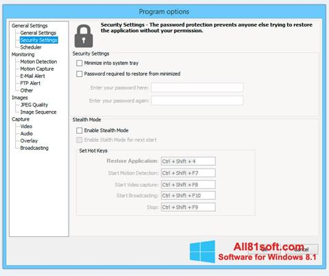Képernyőkép Webcam Surveyor Windows 8.1