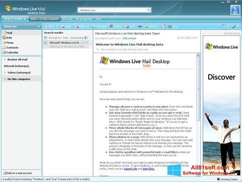 Képernyőkép Windows Live Mail Windows 8.1