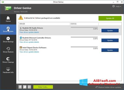 Képernyőkép Driver Genius Windows 8.1