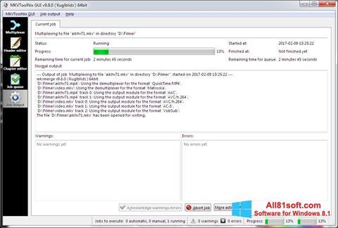 Képernyőkép MKVToolnix Windows 8.1
