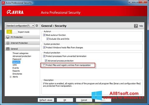 Képernyőkép Avira Professional Security Windows 8.1