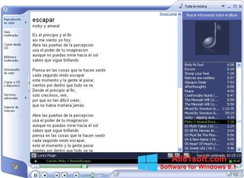 Képernyőkép Windows Media Player Windows 8.1