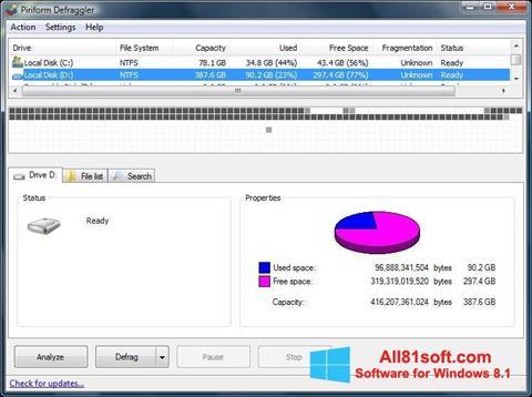 Képernyőkép Defraggler Windows 8.1