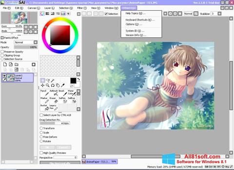 Képernyőkép Paint Tool SAI Windows 8.1