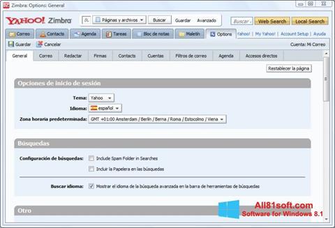 Képernyőkép Zimbra Desktop Windows 8.1