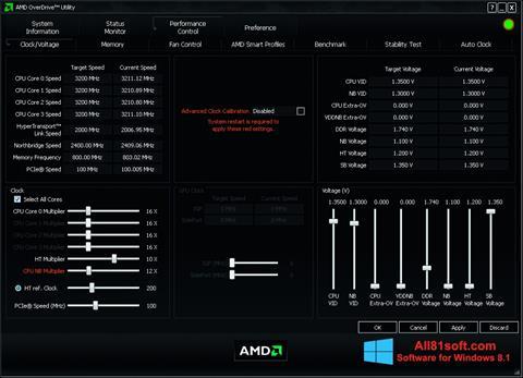 Képernyőkép AMD Overdrive Windows 8.1
